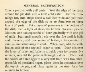 General Satisfaction Pie Recipe from Mrs. Rorer's Cook Book, 1886