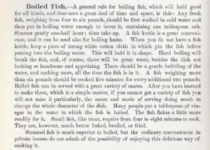 Boiled Fish from Columbia Cook Book 1895