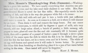 Columbia Cook Book Mrs Moore's Thanksgiving Fish