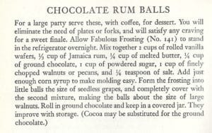 Chocolate Rum Balls from Patio Cook Book