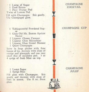 Champagne Cocktails from Old Mr. Boston Official Bartender's Guide