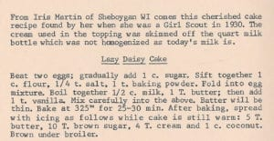 Lazy Daisy Cake from Stories and Recipes of the Great Depression of the 1930s