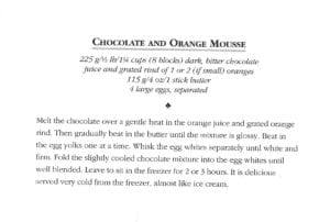 Chocolate and Orange Mousse from Irish Country House Cooking