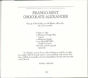 Frango Mint Chocolate Alexander from Marshall Field's Frango Chocolate Cookbook
