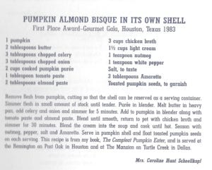 Pumpkin Almond Bisque in its Own Shell from Texas Celebrity Cookbook
