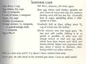 Daffodil Cake for Easter from Woman's Home Companion Cook Book