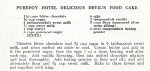 Purefoy Hotel Delicious Devil's Food Cake from Purefoy Hotel Cook Book, 1949, Signed