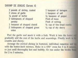 Shrimp De Jonghe from James Beard Cookbook, 1959, 1961