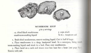 Mushroom Soup Recipe from Thousand Recipe Chinese Cookbook, 1970, 1981