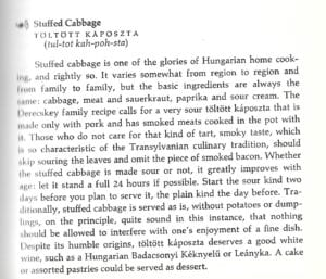 Stuffed Cabbage Recipe from Hungarian Cookbook: Pleasures of Hungarian Food and Wine, Susan Derecskey, 1972