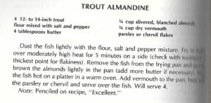Trout Almandine from Bounty of the Earth Cookbook 2