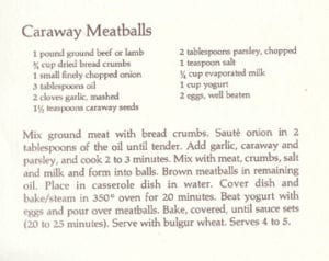 Caraway Meatballs from Whole Earth Cook Book 2, 1975