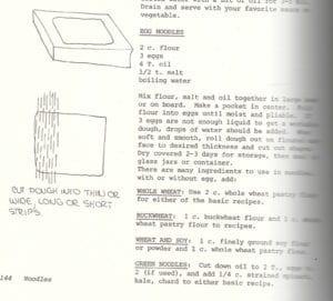 Egg Noodles from Rainbow Farm Cookbook, 1973